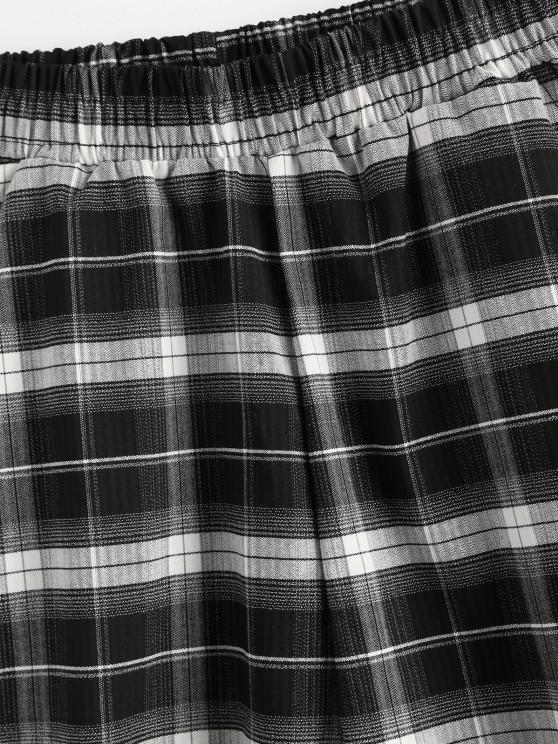 Plaid Pocket Bermuda Shorts - Black S   ZAFUL