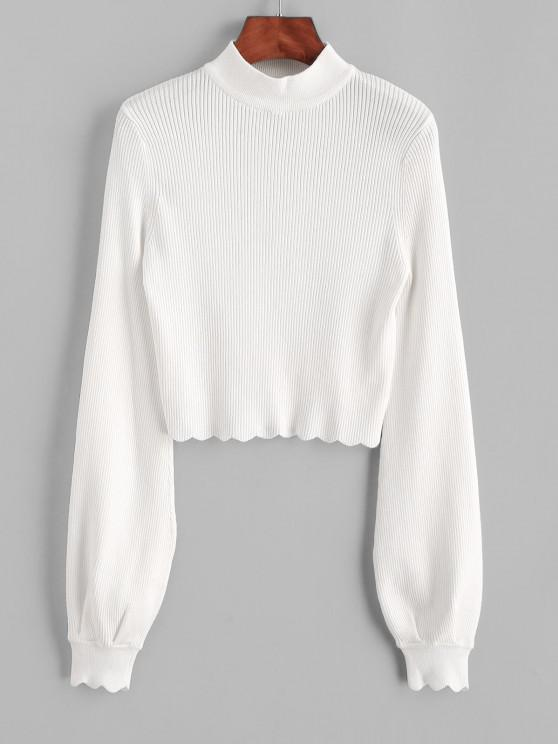 Mock Neck Ribbed Scalloped Cropped Sweater - كريم كريستال S