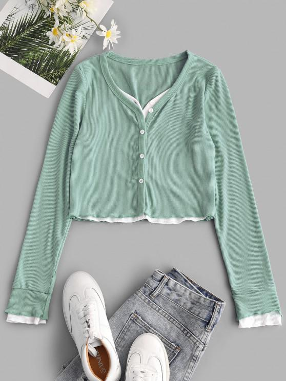 Faux Twinset Button Up Lettuce Trim Cropped Top - أخضر S