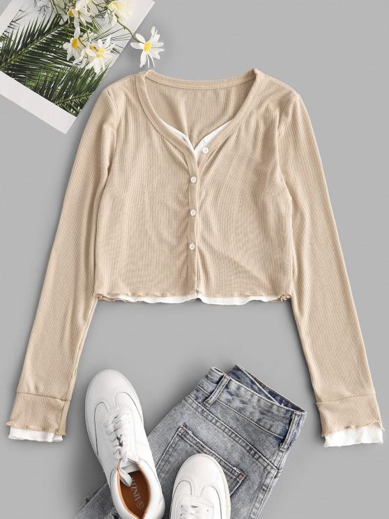 buy Faux Twinset Button Up Lettuce Trim Cropped Top - LIGHT COFFEE L