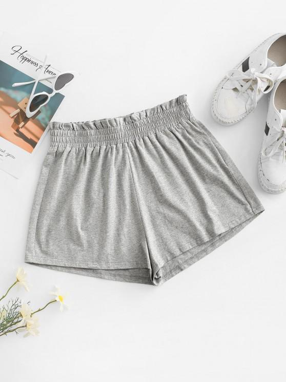 outfits ZAFUL Paperbag Heathered Shorts - LIGHT GRAY M
