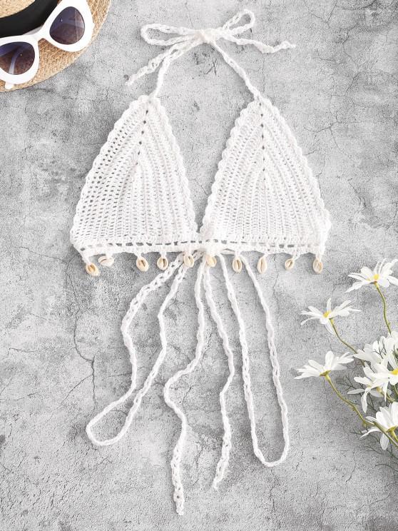 ladies Crochet Shell Embellished Bralette Halter Bikini Top - WHITE L
