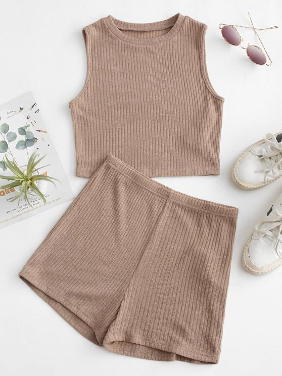 outfit ZAFUL Ribbed Knit Crop Top and Shorts Pajama Set - KHAKI S
