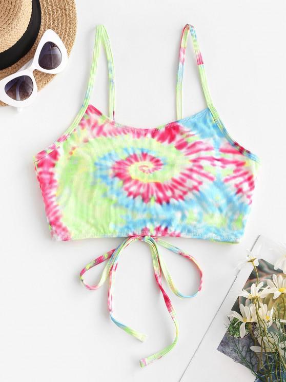 hot ZAFUL Ribbed Tie Dye Lace Up Bikini Top - MULTI S