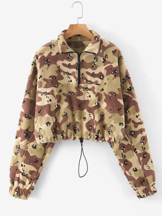 hot Half Zip Camo Fleece Cropped Sweatshirt - ACU CAMOUFLAGE M