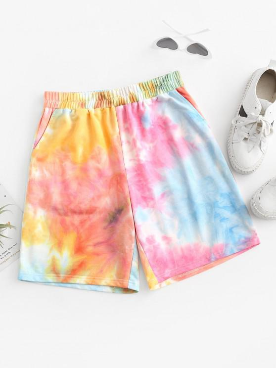 hot ZAFUL High Rise Tie Dye Sweat Shorts - MULTI-A S