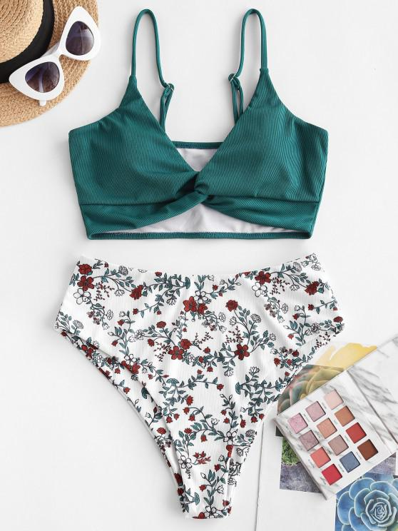 fashion ZAFUL Ribbed Flower Twisted Tankini Swimwear - DEEP GREEN L