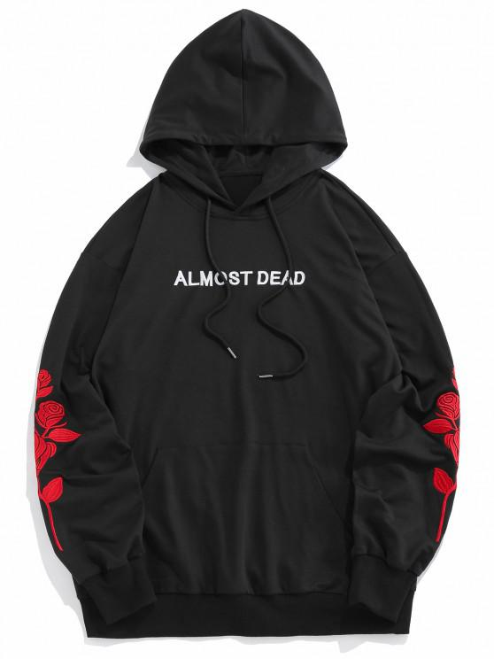 women's ZAFUL Rose Almost Dead Embroidery Hoodie - BLACK M