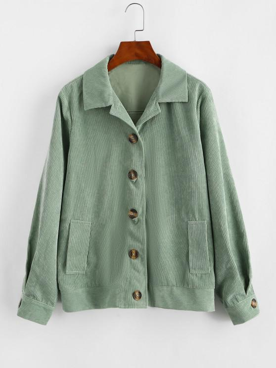 chic ZAFUL Ribbed Buttons Corduroy Jacket - LIGHT GREEN M
