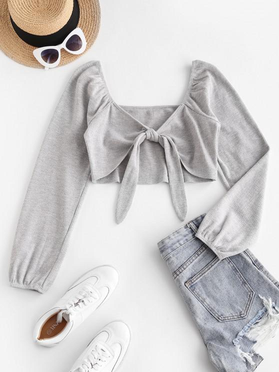 new ZAFUL Ribbed Front Tie Crop Knitwear - ASH GRAY S