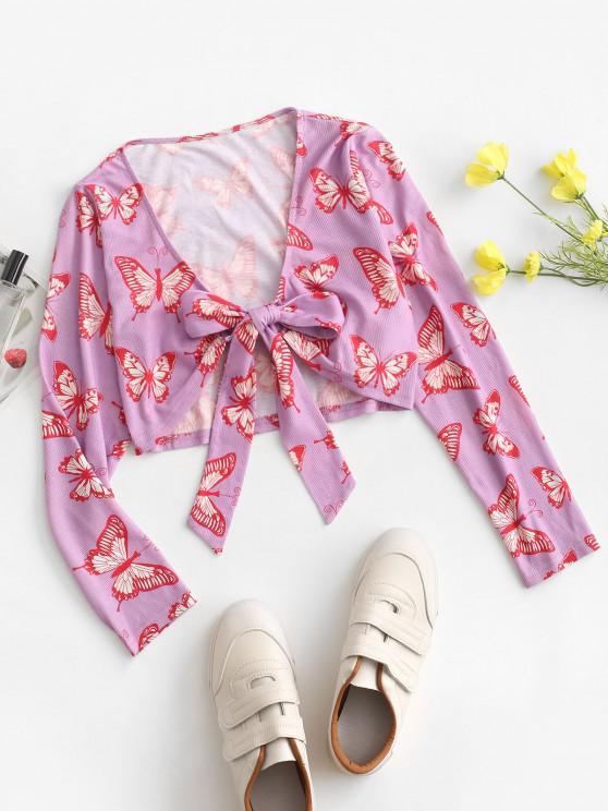 women ZAFUL Front Tie Butterfly Print Ribbed Cardigan - MAUVE M