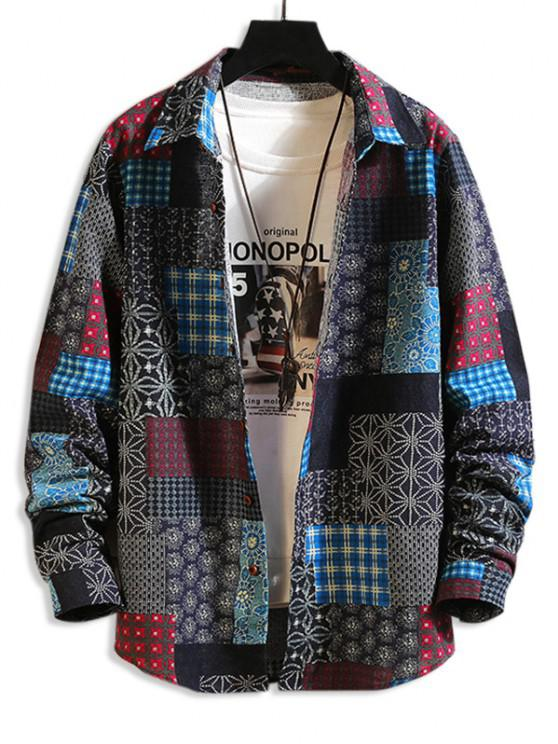 affordable Tribal Floral Patchwork Print Long Sleeve Shirt - MULTI-A 3XL