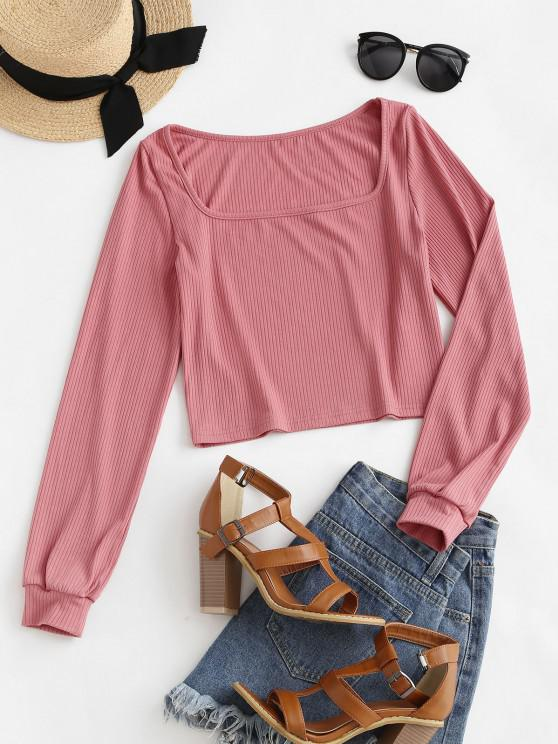 latest ZAFUL Ribbed Square Neck Crop Tee - ROSE M