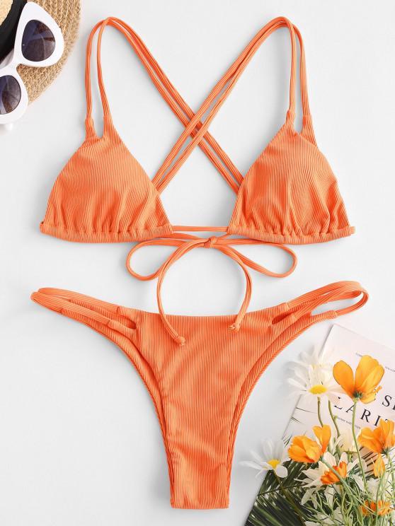 new ZAFUL Ribbed Ladder Cutout Ruched Padded Bikini Swimwear - ORANGE M