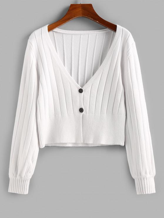 ZAFUL Cardigan Plongeant Côtelé Boutonné - Blanc XL