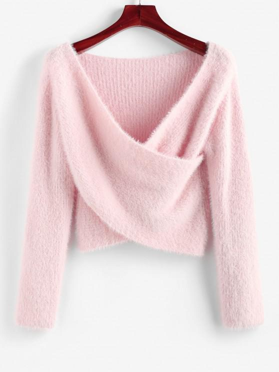 ZAFUL Fuzzy Crossover Plunging Crop Sweater - وردي فاتح S