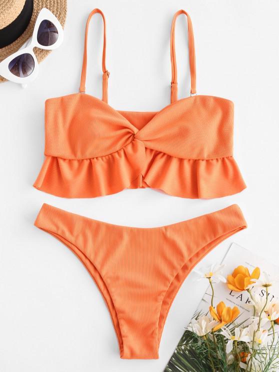 ZAFUL Ribbed Front Twist Ruffled Hem Tankini Swimwear - البرتقالي 2XL