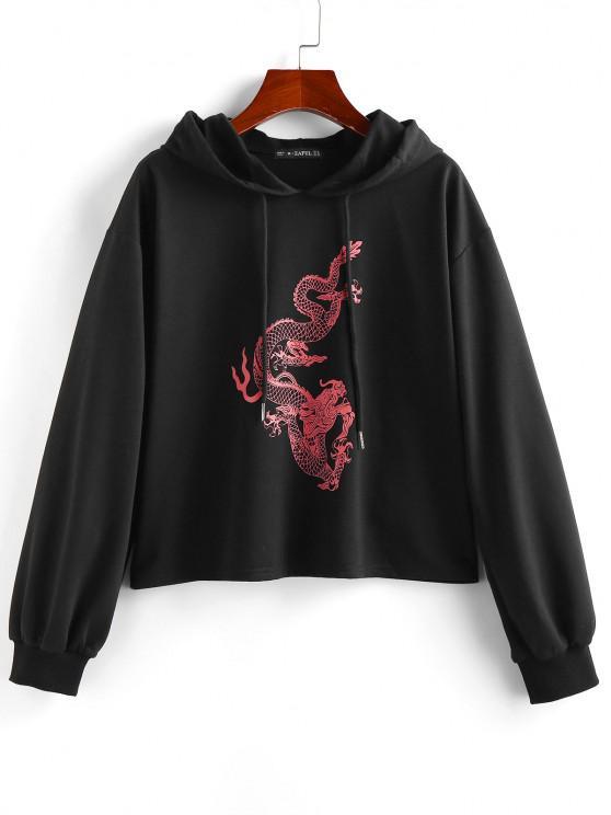 fancy ZAFUL Dragon Print Oriental Hoodie - BLACK M
