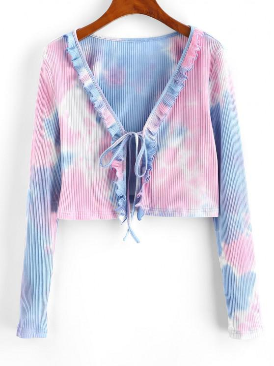 unique ZAFUL Ribbed Tie Dye Ruffle Tie Front Cardigan - DEEP PEACH S