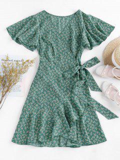 ZAFUL 小花柄フリルバタフライスリーブチューリップドレス - ウミガメグリーン L