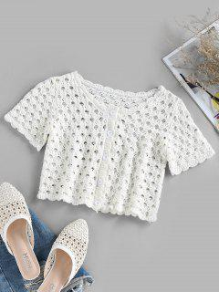 ZAFUL Button Up Crochet Cropped T Shirt - White M