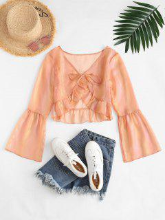 ZAFUL See Thru Sheeny Flare Sleeve Flounce Blouse - Light Orange S