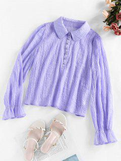 ZAFUL Button Poet Sleeve Blouse - Lilac M