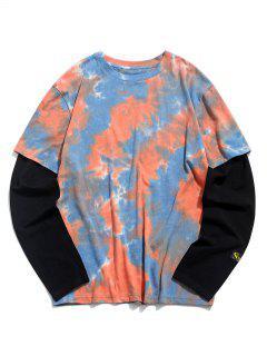 Krawattenfärbender Druck Applique T-Shirt - Orange 2xl