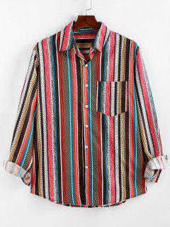 ZAFUL Camisa De Manga Larga De Lounge Con Bolsillo Geométrico - Multicolor S