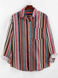ZAFUL Geometric Striped Pocket Lounge Long Sleeve Shirt - Multi S