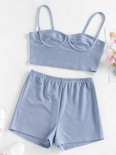 ZAFUL Ribbed Cupped High Waisted Shorts Set - Light Blue L