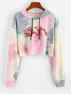 Dragon Print Oriental Tie Dye Drawstring Hoodie - Light Pink S