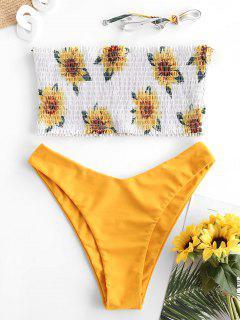 ZAFUL Floral Sunflower Daisy Bandeau Smocked Bikini Swimsuit - Deep Yellow M