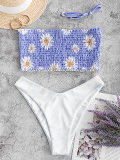 ZAFUL Floral Sunflower Daisy Bandeau Smocked Bikini Swimsuit - Light Blue L
