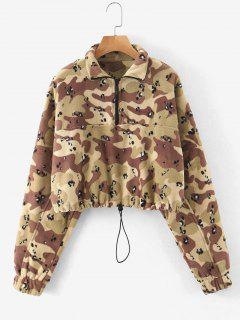 Half Zip Camo Fleece Cropped Sweatshirt - Acu Camouflage M