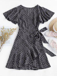 ZAFUL Ditsy Print Ruffle Butterfly Sleeve Tulip Dress - Black S