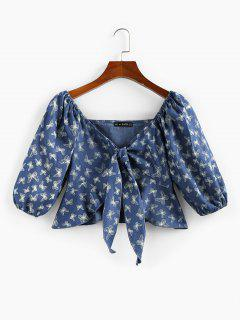 ZAFUL Front Tie Flounce Butterfly Print Blouse - Blue S