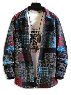 Tribal Floral Patchwork Print Long Sleeve Shirt - Multi-a 2xl