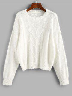 ZAFUL Plain Drop Shoulder Fuzzy Sweater - White L