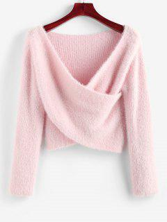 ZAFUL Fuzzy Crossover Plunging Crop Sweater - Light Pink S