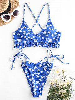 ZAFUL Ditsy Floral Ruffled Hem High Cut Bikini Swimwear - Blue S