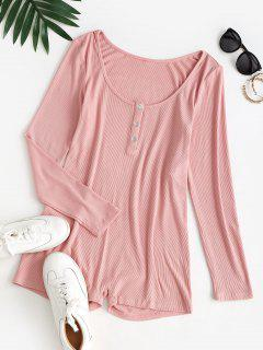 ZAFUL Ribbed Skinny Long Sleeve Henley Romper - Lipstick Pink S