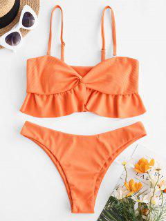 ZAFUL Ribbed Front Twist Ruffled Hem Tankini Swimwear - Orange 2xl