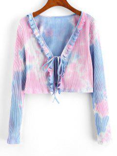 ZAFUL Ribbed Tie Dye Ruffle Tie Front Cardigan - Deep Peach Xl