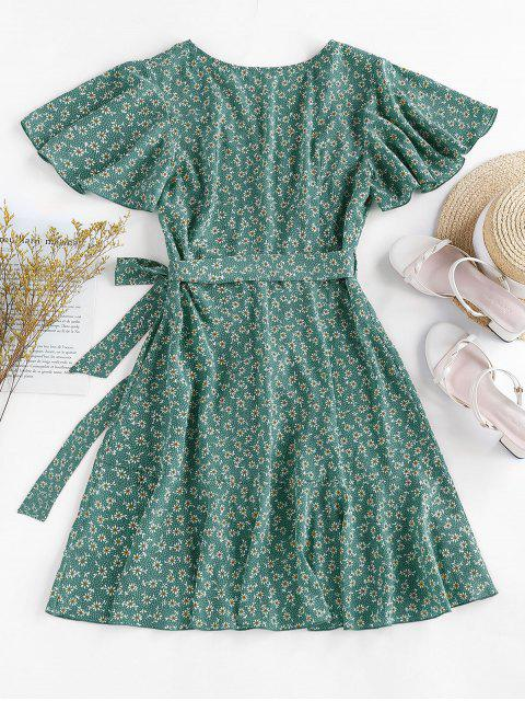 lady ZAFUL Ditsy Print Ruffle Butterfly Sleeve Tulip Dress - SEA TURTLE GREEN L Mobile