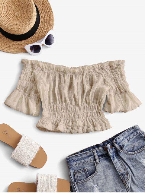 shop Solid Off Shoulder Smocked Beach Top - LIGHT COFFEE ONE SIZE Mobile