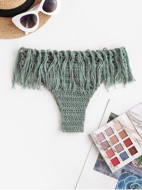 Crochet franjas Calcinhas de Biquíni - Verde S Mobile