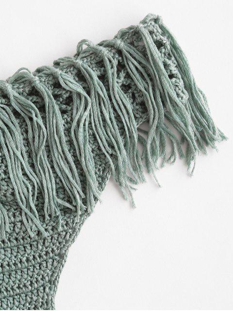trendy Crochet Fringed Bikini Bottom - GREEN L Mobile