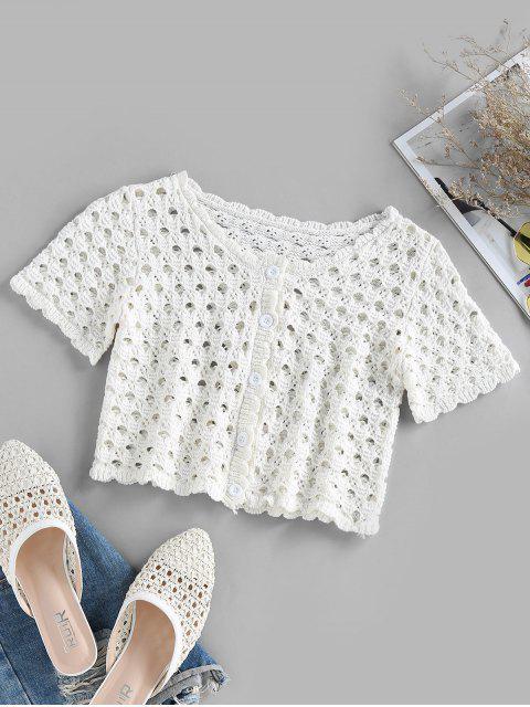 ZAFUL Kurz Geschnittenes T-Shirt mit Knopfleiste - Weiß M Mobile