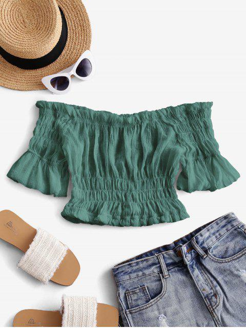 sale Solid Off Shoulder Smocked Beach Top - DEEP GREEN ONE SIZE Mobile